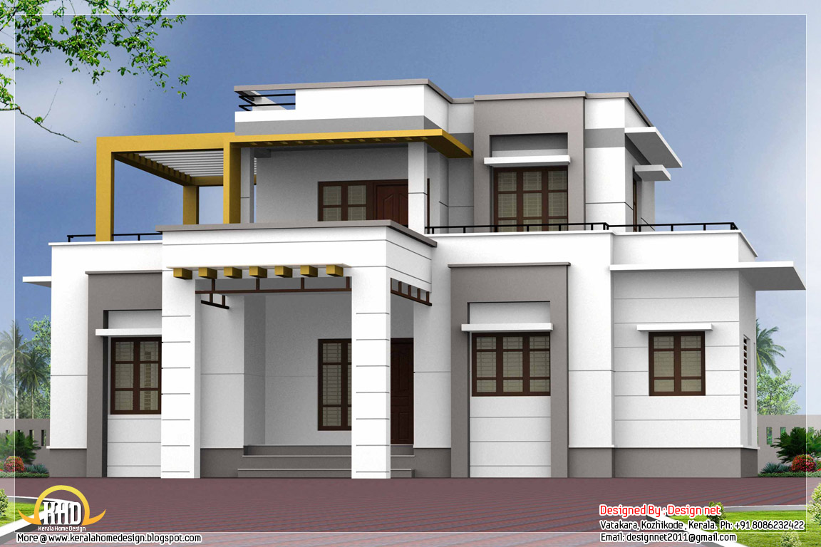 3 bedroom contemporary flat roof house kerala home for Modern 3 bedroom house
