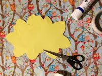 Yellow card cut out using the daffodil template