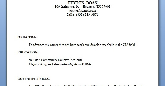 gis technician sample resume format in word free download