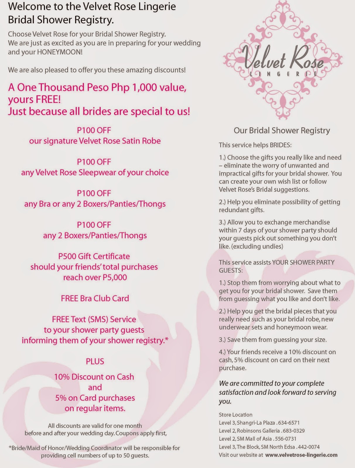 Closed Velvet Rose Bridal Shower Registry Php1500 Gc