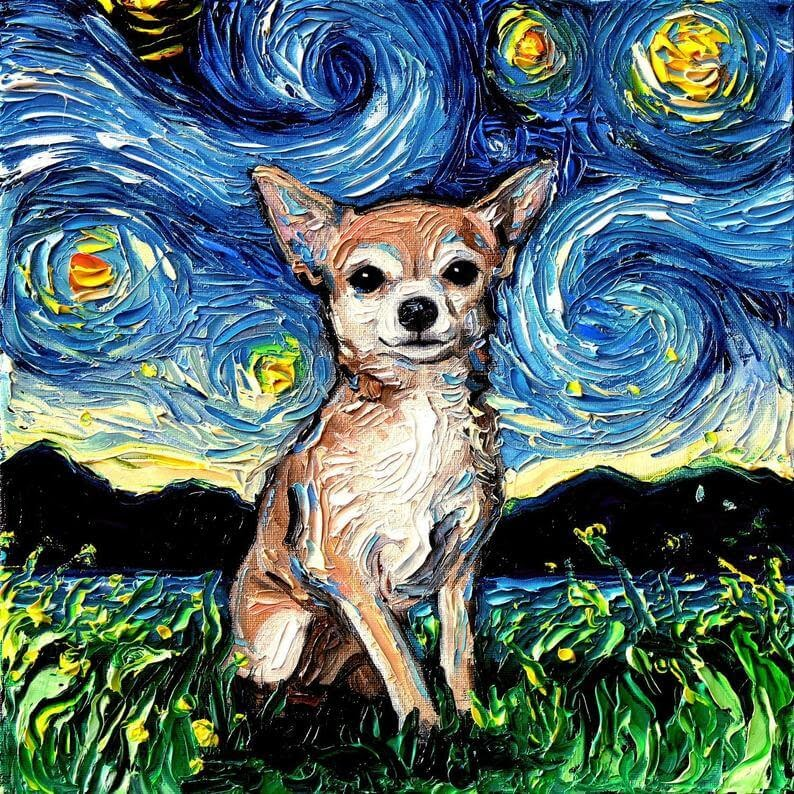 08-Chihuahua-Aja-Trier-The-Starry-Night-Dog-Paintings-www-designstack-co