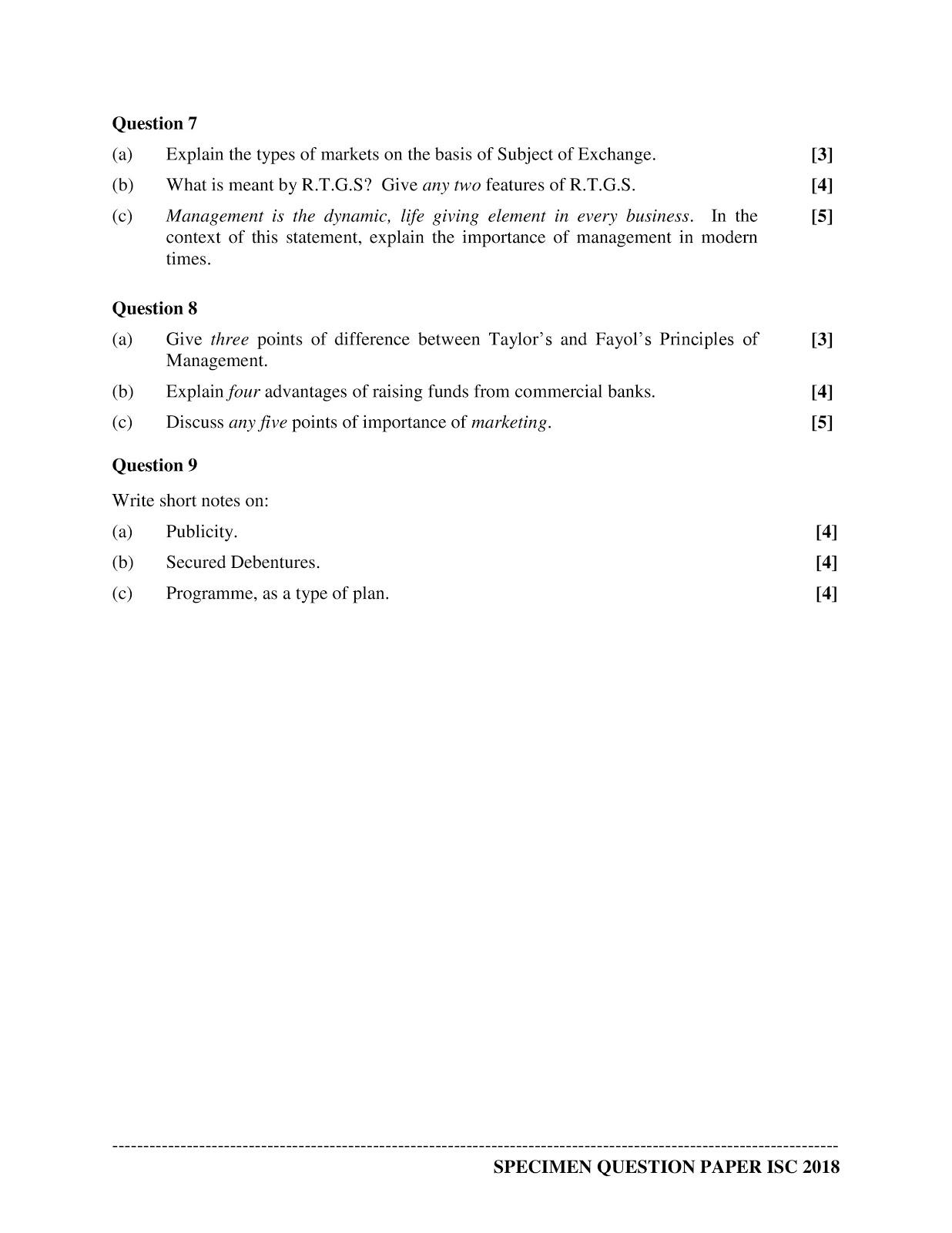 isc 2018 class 12th Commerce Specimen paper