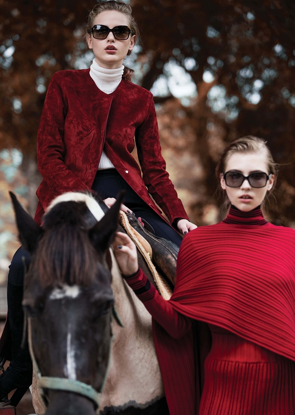 Salvatore Ferragamo 2015 AW Red Ribbed Wool Cape and Dress Editorials