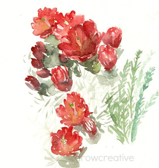 Red Cactus Blossoms- Watercolor Painting: growcreativeblog