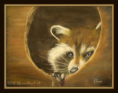 racoon peeking out pastel painting 30in30 ncwren