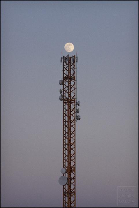 fotografía, luna, grúa, torre, comunicaciones, antena, límites, arte, serie