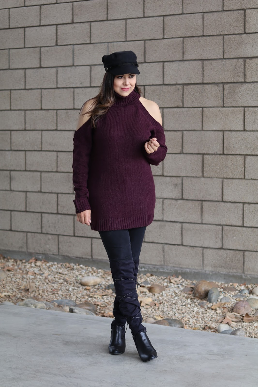 burgundy cutout sweater, burgundy turtleneck sweater, how to style a maroon sweater