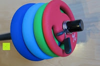 Verschluss schließt: Langhantel GEPOLSTERT inkl. Federverschluss / Gewichtsvarianten 2kg 4kg 6kg 8kg 10kg 12kg 14kg 18kg 20kg in unterschiedlichen Farben