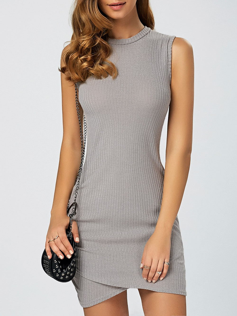 Asymmetric Knitted Sleeveless Jumper Bandage Dress