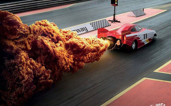 Print Ads xuất sắc của KFC: Miếng gà rán hay khói xe đua & tên lửa thế này? in Hồng Hạc