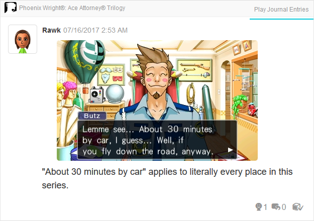 Phoenix Wright Ace Attorney Trials and Tribulations Larry Butz 30 minutes by car