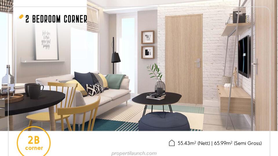 Apartemen Skandinavia Alter Ego tipe 2 BR Corner