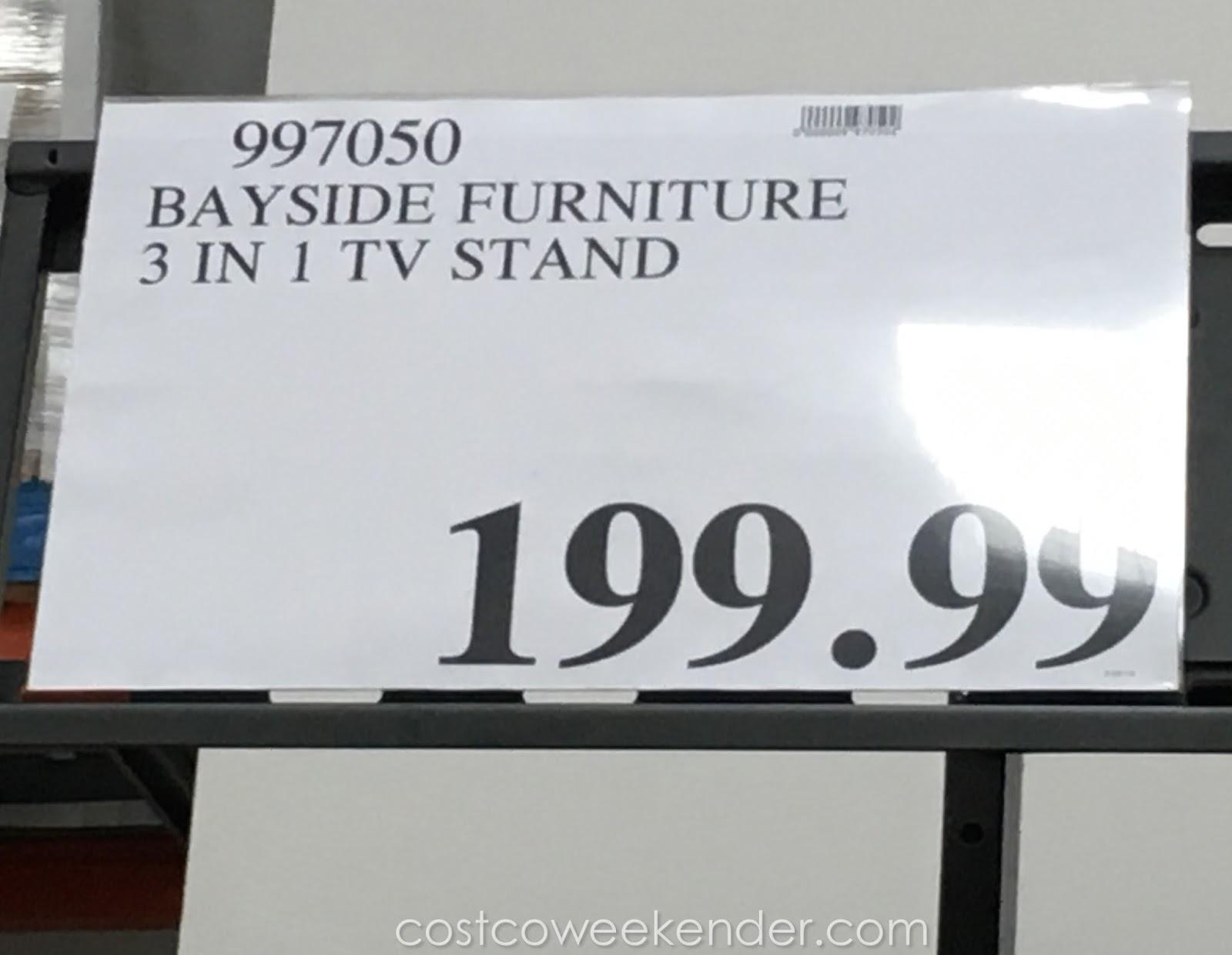 bayside furnishings 3 in 1 tv stand costco weekender. Black Bedroom Furniture Sets. Home Design Ideas