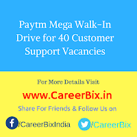Paytm Mega Walk-In Drive for 40 Customer Support Vacancies