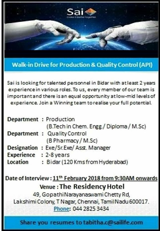 Sai Life Sciences Ltd  Walk In Drive for Production, B Tech