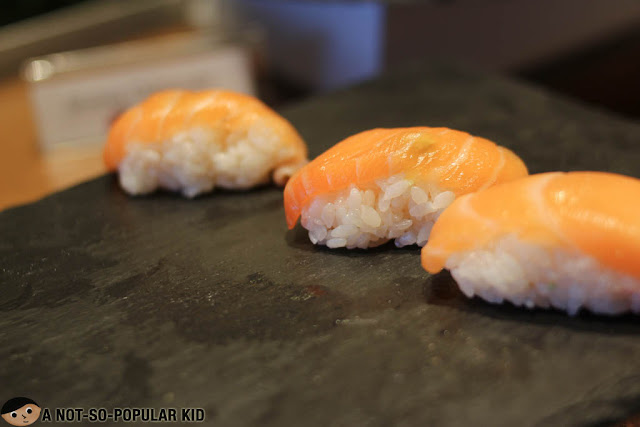 Salmon sushi in Nobu Restaurant