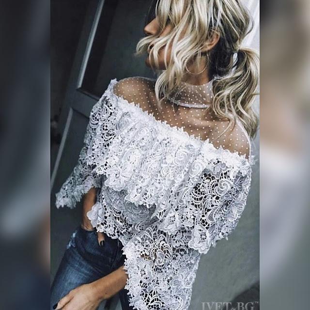 Μακρυμάνικη άσπρη γυναικεία μπλούζα MAKADAMIA