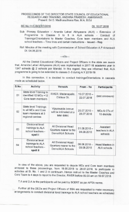 Rc.11 ALA Extension to 3 to 5 Classes in ALA Schools conduct of Trainings