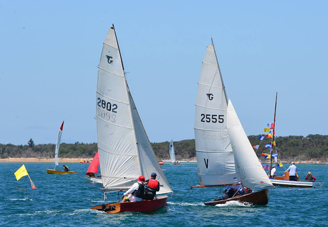 The beautiful cold-molded Aussie 16-foot skiff. Owned by Frank Raisin ...