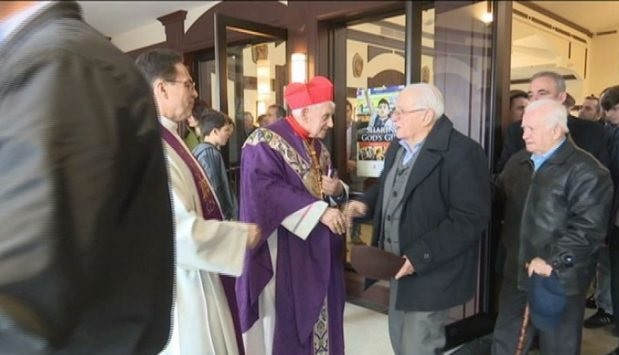 Dom Ernest Troshani in New York with Albanian Community