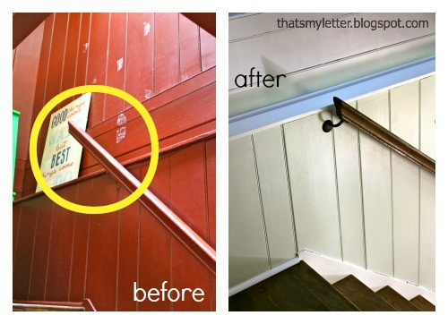 diy handrail makeover before and after