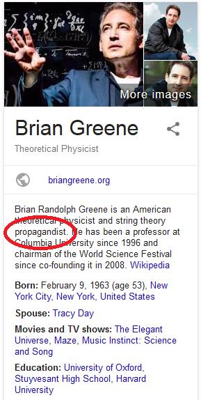 Brian Greene, Propagandist
