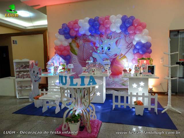 Decoração mesa de aniversário tema para 1 ano - Mesa de tema Gata Marie