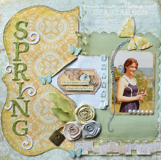 Scrapbook layout page in pale blue, yellow, and green. Spring theme with butterflies and thickers alpha letters