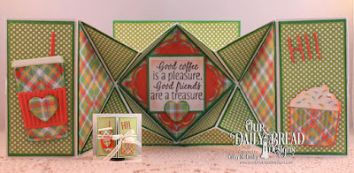Our Daily Bread Designs Stamp Set: I Love Coffee, Our Daily Bread Designs Paper Collection:Birthday Brights, Our Daily Bread Designs Fun and Fancy Folds - Diamond Fold, Our Daily Bread Deisgns Custom Dies: Beverage Cup, Alphabet, Layered Lacey Squares,Pierced Squares
