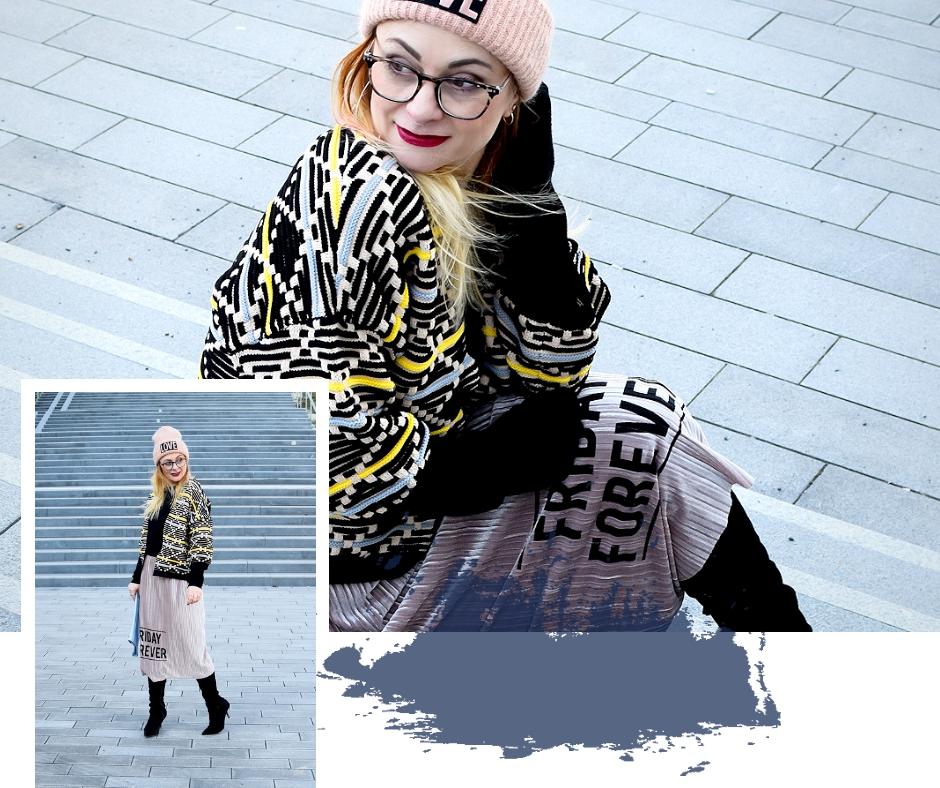 Schönes Outfit mit Rock im Winter, schwarze Overknees