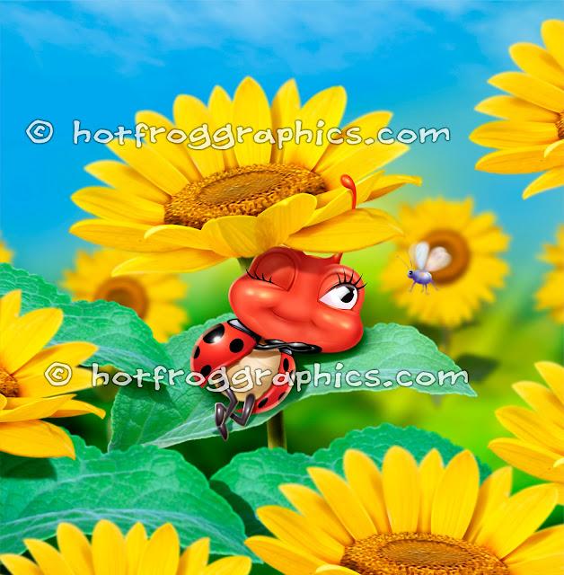 Small ladybug sleeping on a sunflower