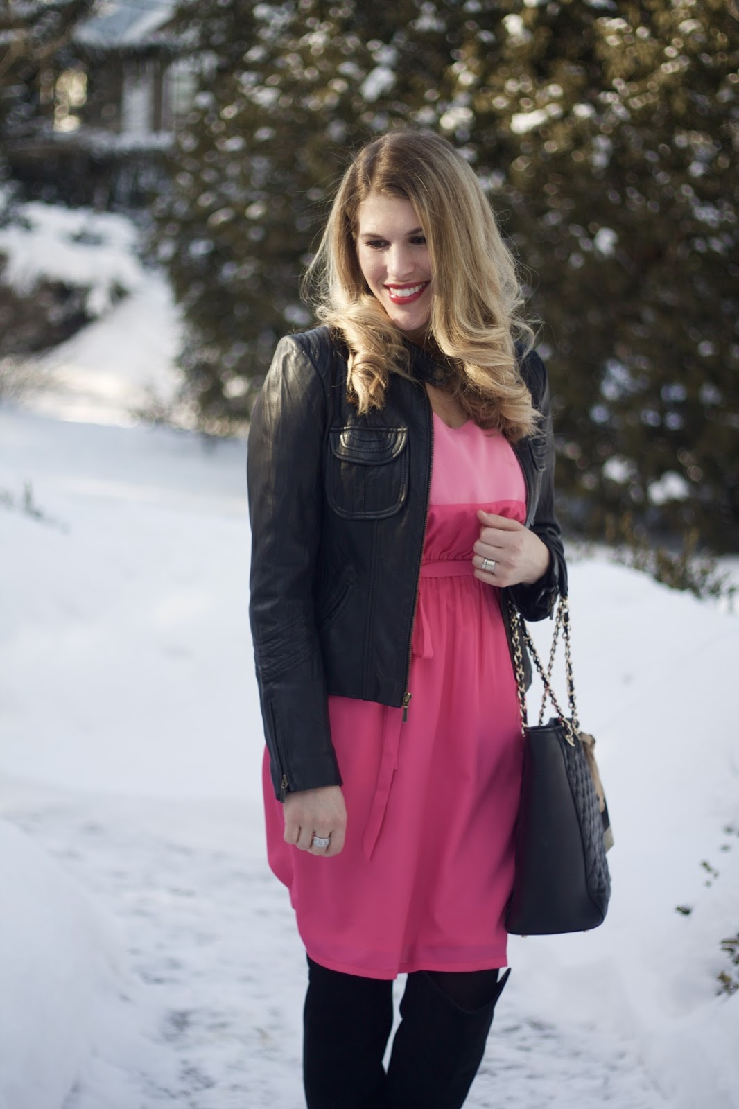 pink colorblock dress, black moto jacket, black OTK boots, black quilted leather tote