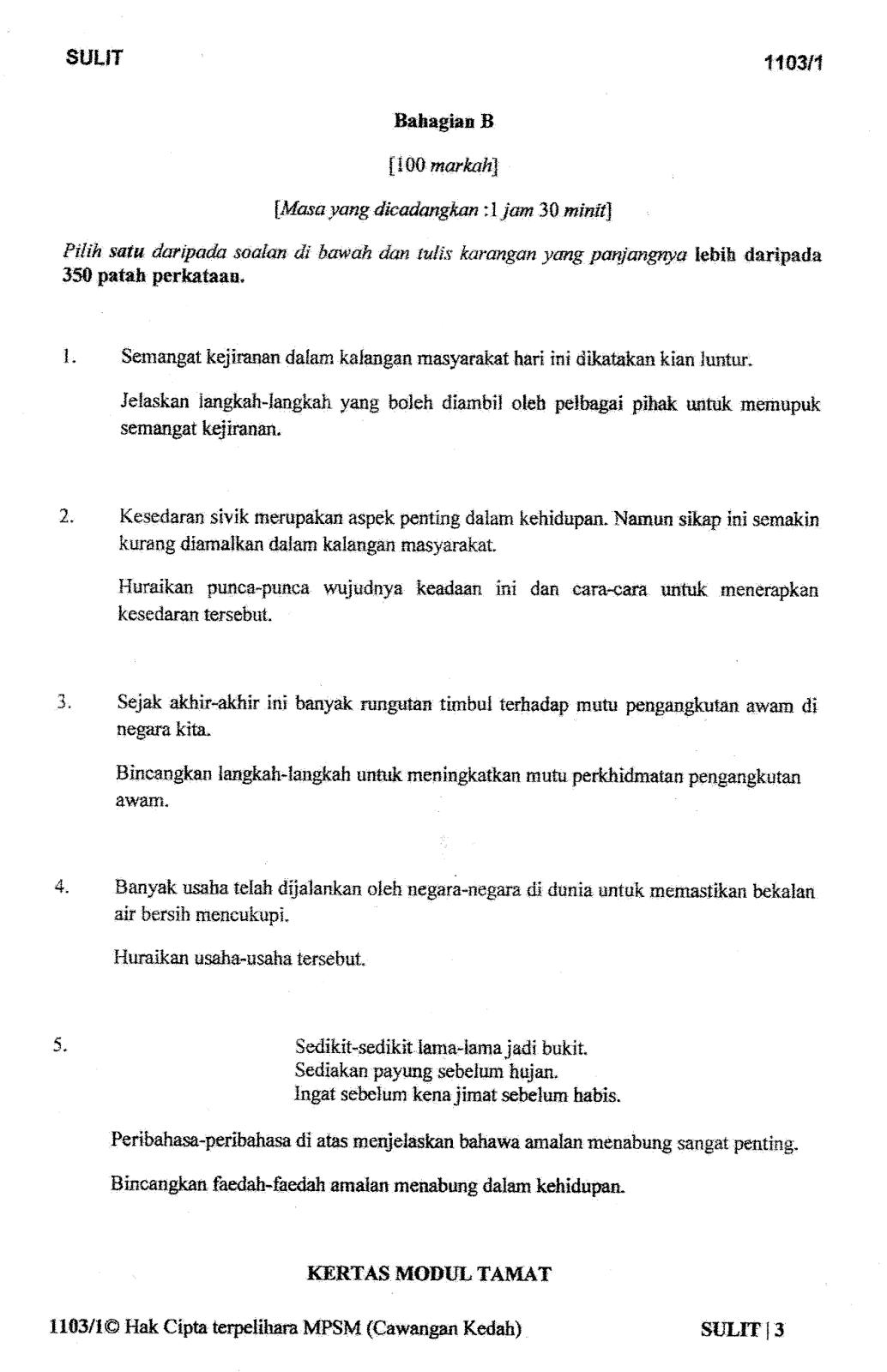 Soalan Percubaan Bahasa Melayu Spm 2016 Kedah 1
