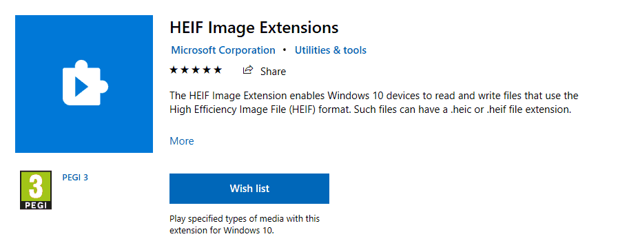 Open the HEIF format for Windows 10