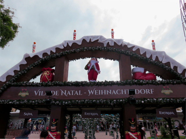 Christmas Village in Blumenau with its entrance decorated with Christmas items.