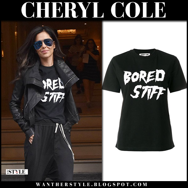 Cheryl Cole in black bored stiff slogan t-shirt and black leather jacket street fashion july 23