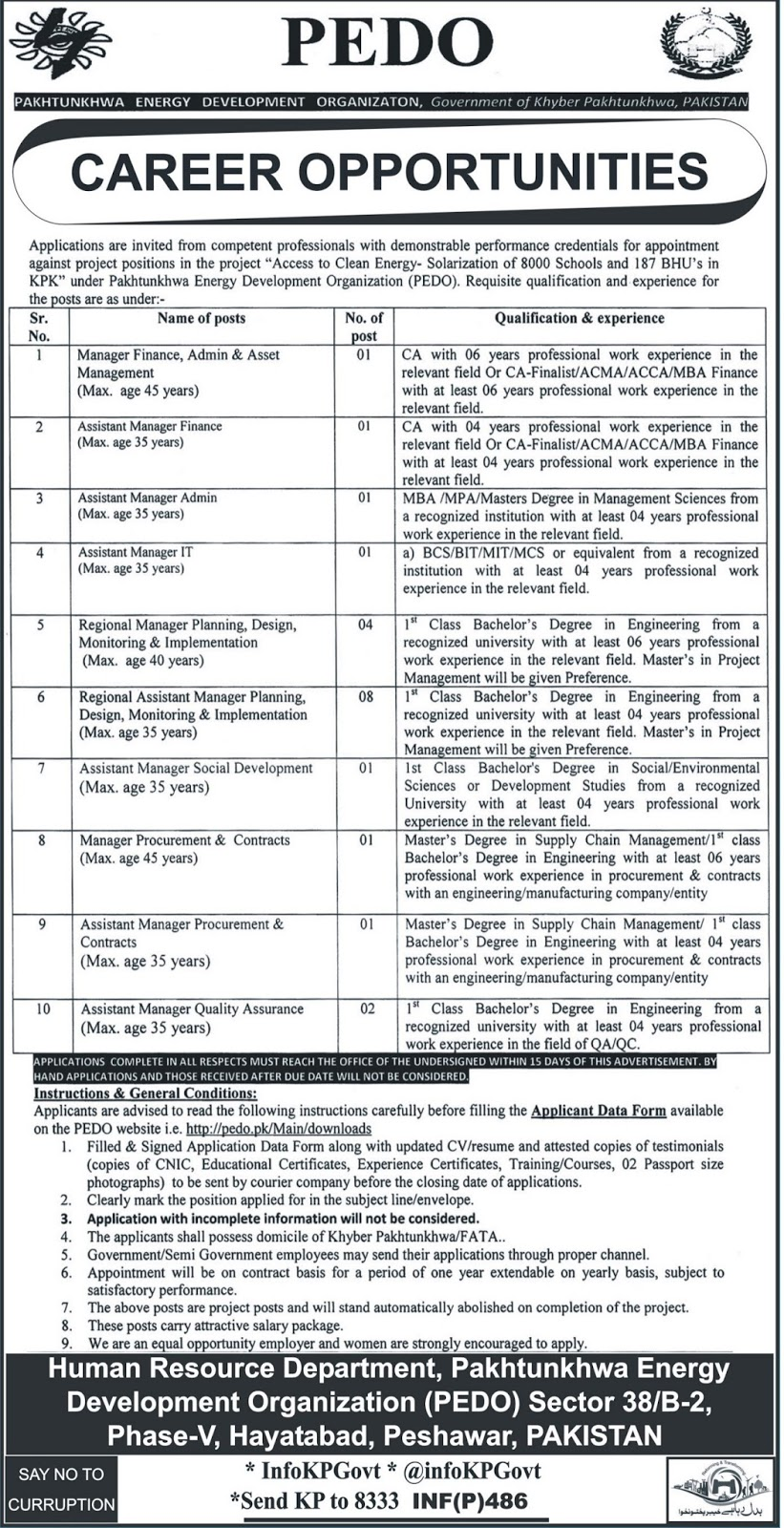 Jobs In Pakhtunkhwa Energy Development Organization  Jan 2018