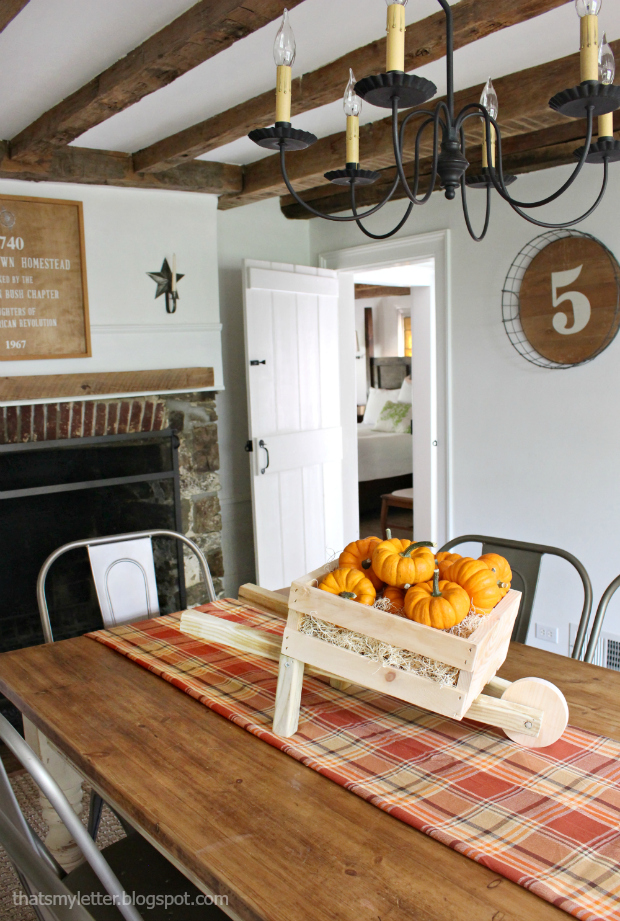 tabletop rustic wheelbarrow dining room