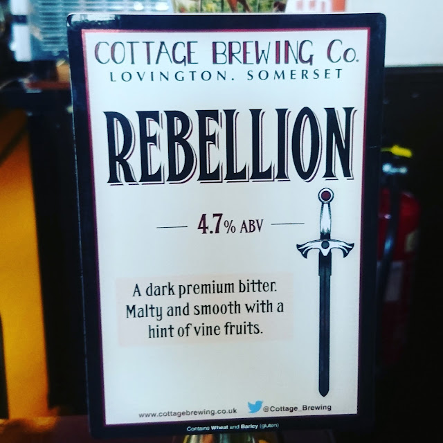 Somerset Craft Beer Review: Rebellion from Cottage Brewing real ale pump clip