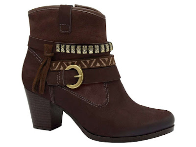 bota cano curto inverno 2016 linda elegante chique moda lançamento tendencia frio look calçado feminino  salto camurça marrom franja estilosa dakota fivela
