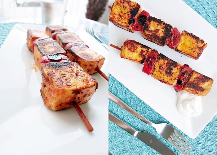Grillkäse-Spieße an Barbecue Marinade