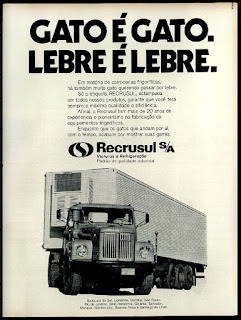 carrocerias frigoríficas Recrusul;  brazilian advertising cars in the 70. os anos 70. história da década de 70; Brazil in the 70s; propaganda carros anos 70; Oswaldo Hernandez;