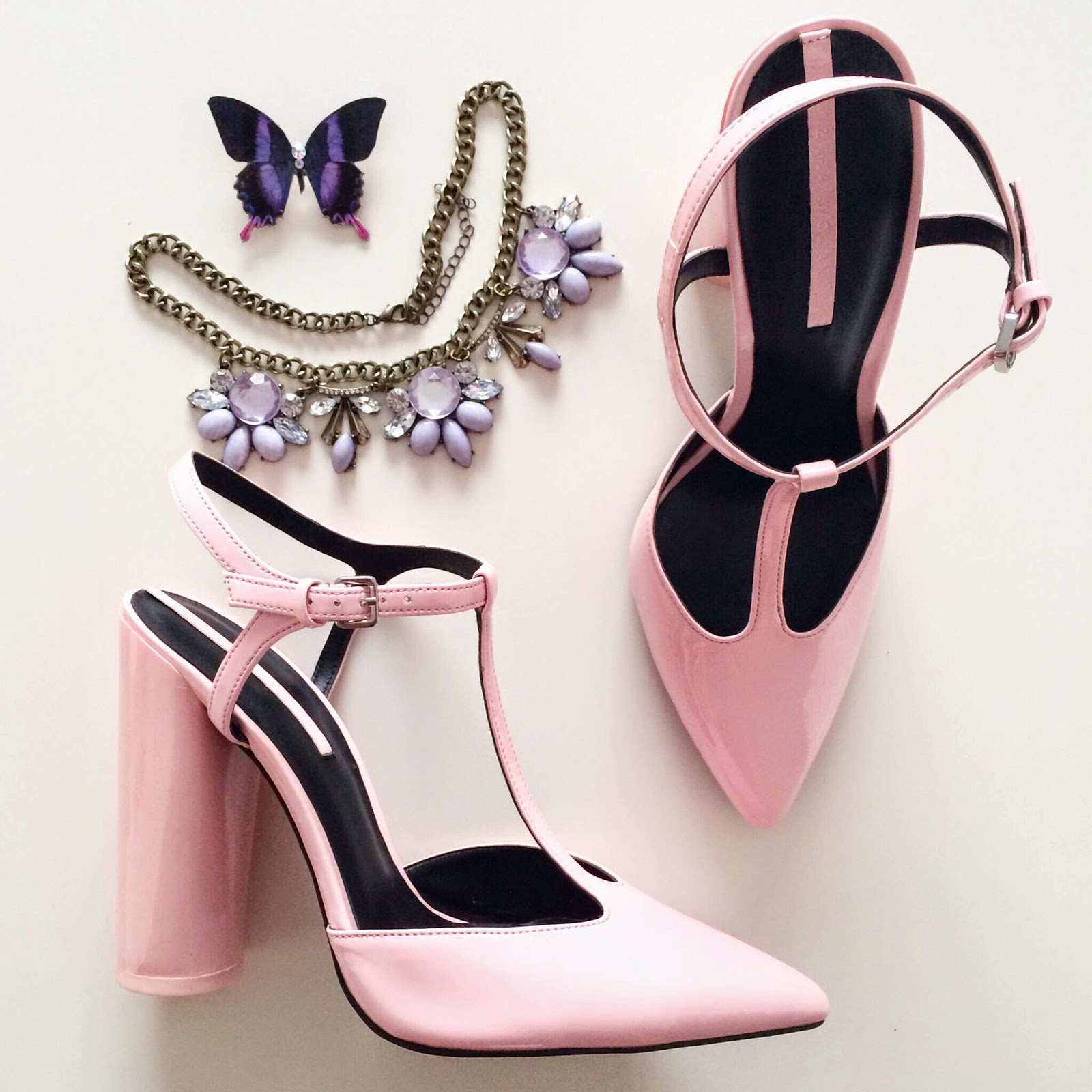 zara pink heels purple statement necklace butterfly brooch