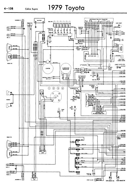 repair-manuals: Toyota Celica Supra A40 1979 Wiring Diagrams