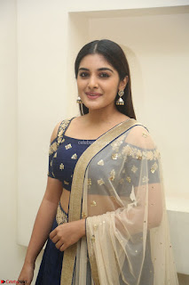Niveda Thomas in Lovely Blue Cold Shoulder Ghagra Choli Transparent Chunni ~  Exclusive Celebrities Galleries 012