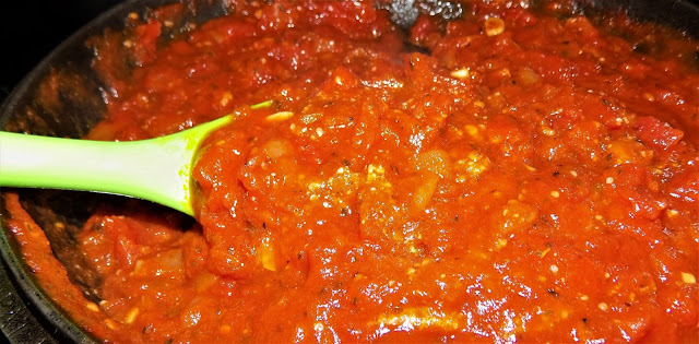 A picture of tomato herb sauce for cabbage roll recipe