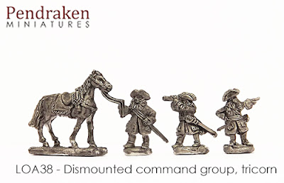 LOA38   Dismounted Command group, tricorn (3 figures + 1 horse)