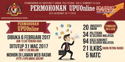 Tarikh Penting Kemasukan UPU Sesi 2017/2018
