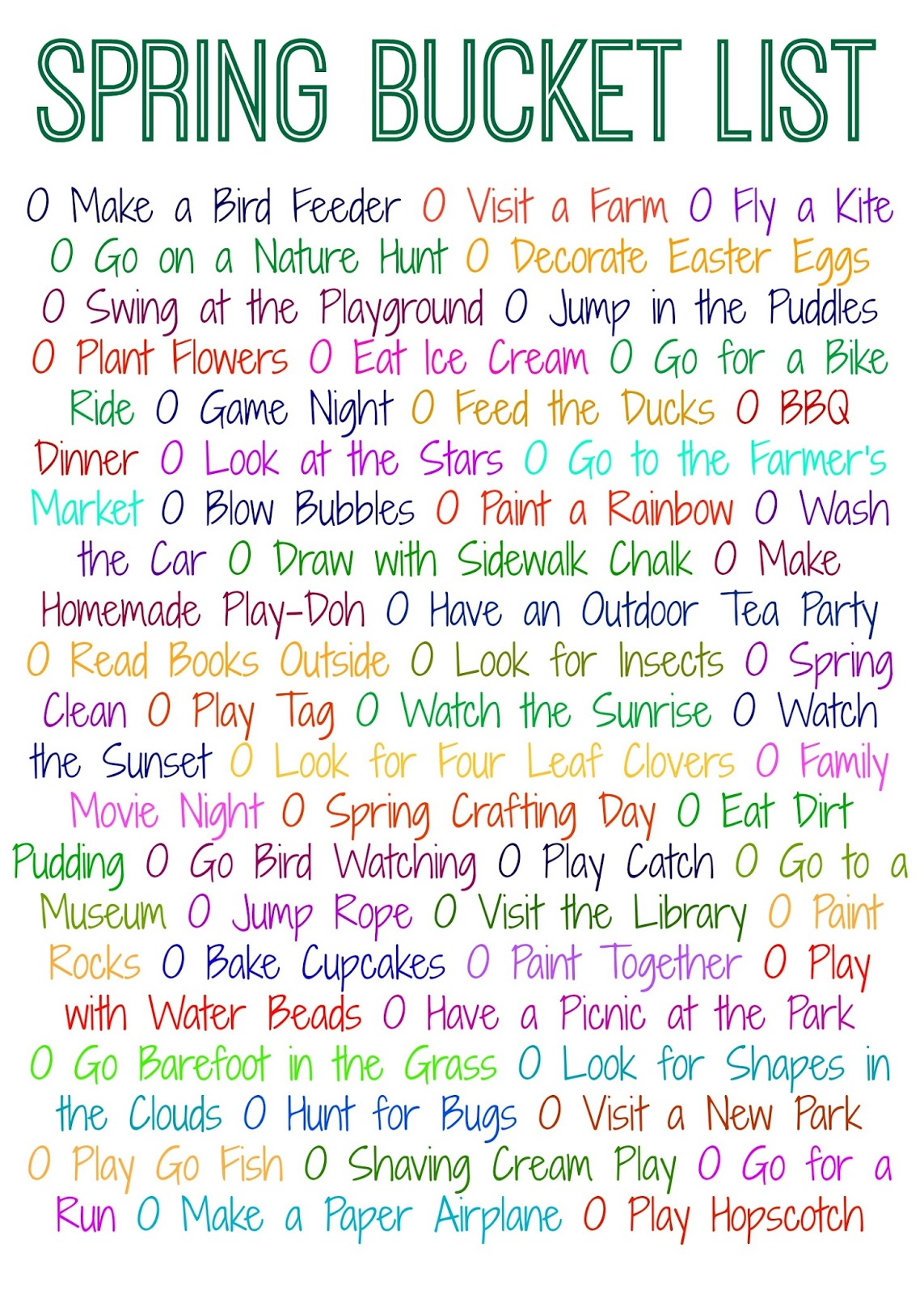50 Things To Do This Spring Free Printable