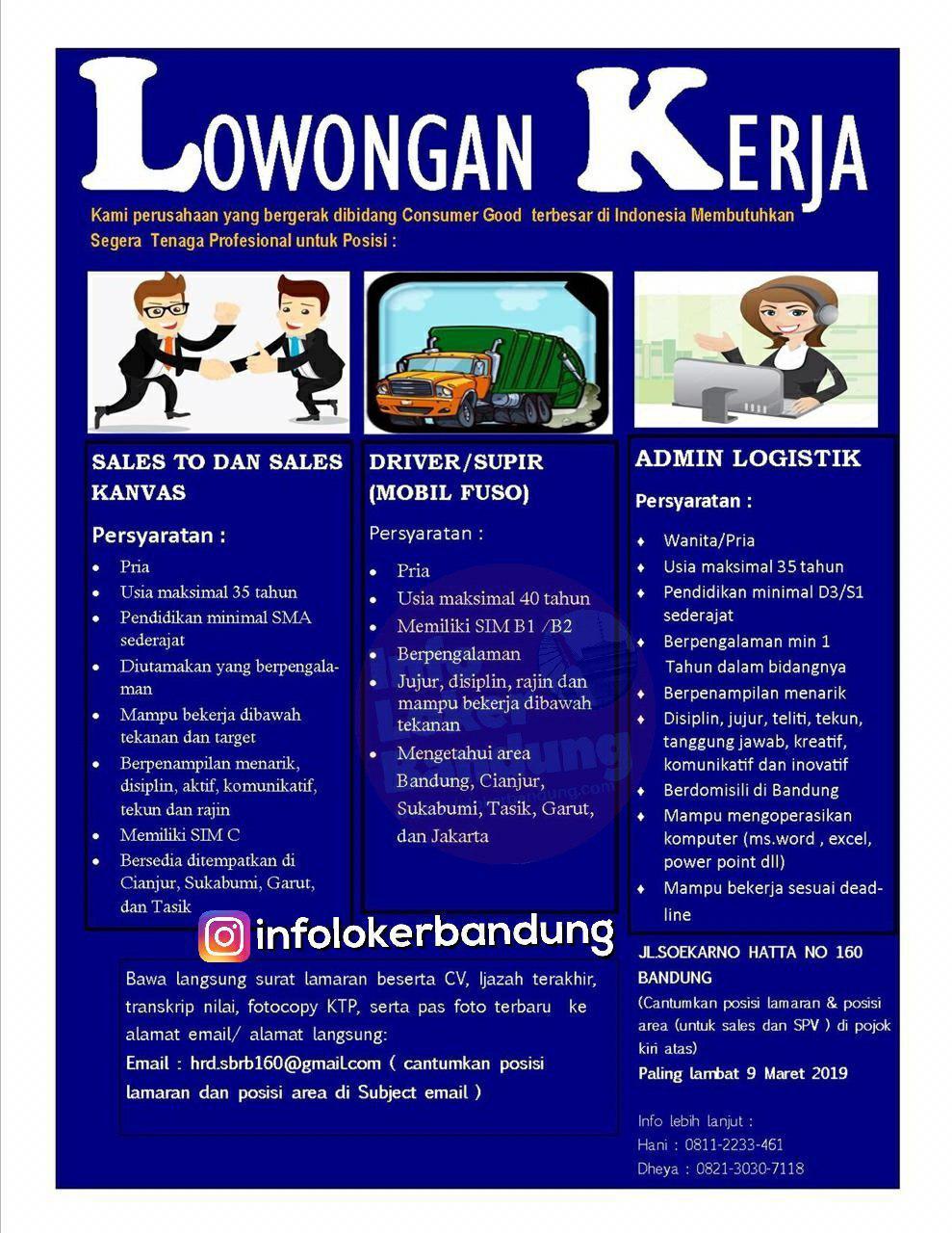Lowongan Kerja PT. Sunga Budi Rosebrand Bandung Maret 2019